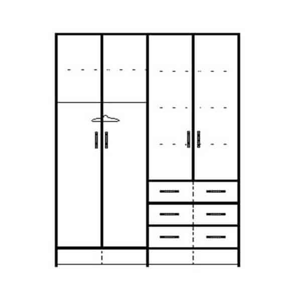 ארון 4 דלתות דגם 0094 ר.א
