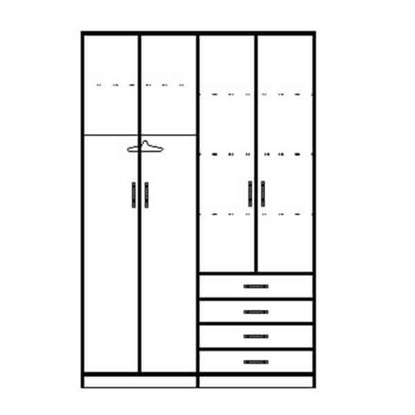 ארון 4 דלתות דגם R0095 ר.א