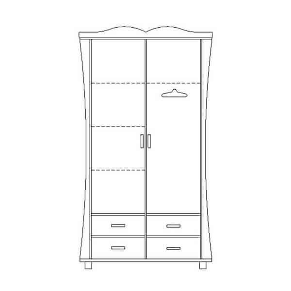 ארון 2 דלתות רחב עם ווילונות על במה דגם 245-4 ר.א