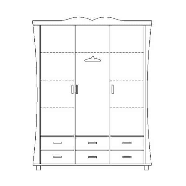 ארון 3 דלתות רחב עם ווילון על במה דגם R0002 ר.א