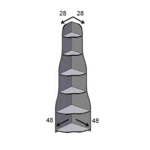 יחידת מדפים פינתית ר.א דגם 452